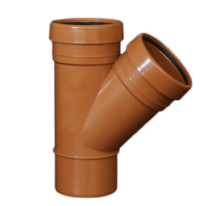 picture of a 110mm underground drainagedouble socket Y Junction 45 degree