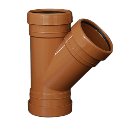 picture of an 110mm underground drainage triple socket Y Junction 45 degree