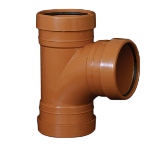 picture of an 110mm underground drainage triple socket T Junction 87.5 degree