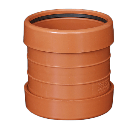 picture of a 110mm underground drainage double socket coupler