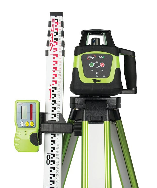 IMEX 66R Rotary Laser Level With Red Beam - FULL KIT