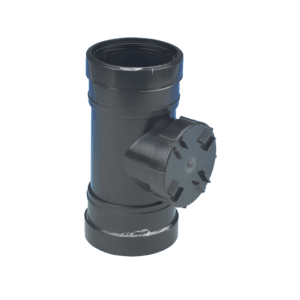 Picture of a 110mm push fit soil double socket access pipe in black