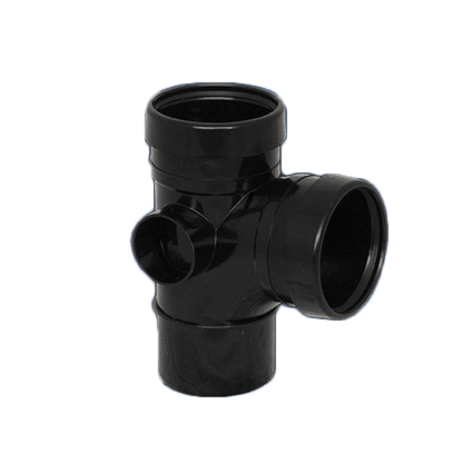 Picture of a 110mm push fit soil doube socket t junction in black