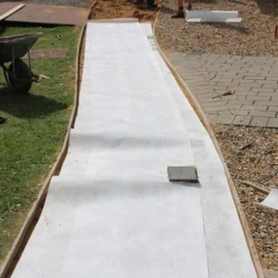picture of Terram T100 membrane laid under path