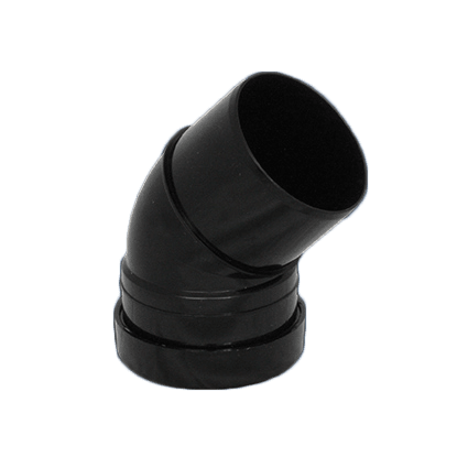 Picture of a 110mm push fit soil single socket 135 degree bend in black