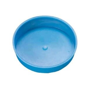 picture of a blue end cap for use with land drainage pipe