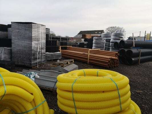 This is a picture of Easymerchant's stock yard packed with drainage and building products