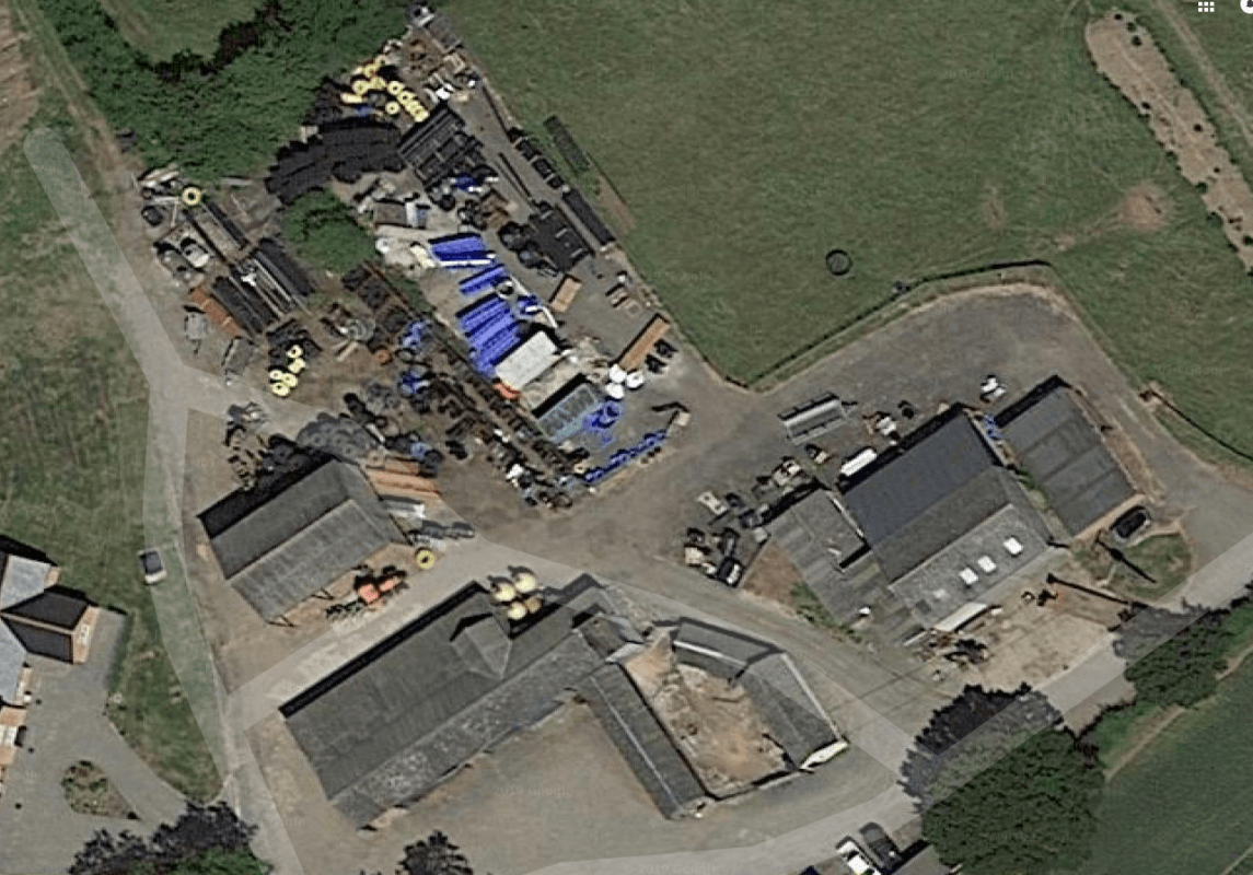 Arial picture of easymerhants stock yard full of building and drainage products