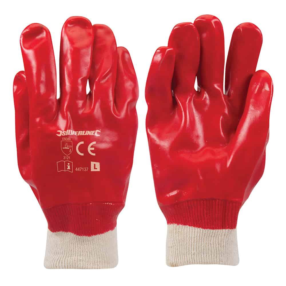 Silverline Red PVC Gloves